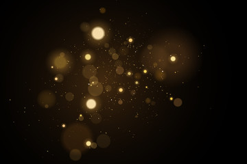 Wall Mural - Abstract golden lights bokeh on a black background. Glares with flying glowing particles. Ligh gold effect. Vector illustration