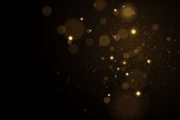 Wall Mural - Lights bokeh on a black background. Glares with flying glowing particles. Ligh gold effect. Vector illustration