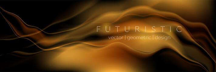 Fototapeten Abstrakte Welle Dark golden liquid flowing waves abstract background. Bronze smooth wavy vector banner design