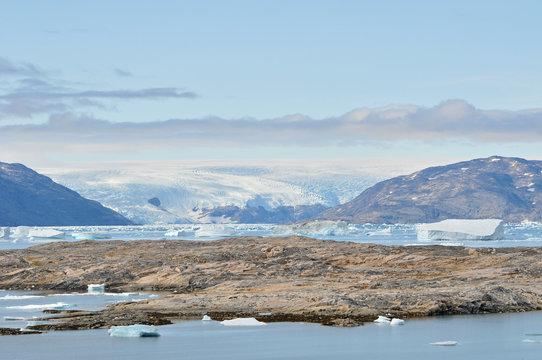 Greenland ice sheet shot from Isortoq island