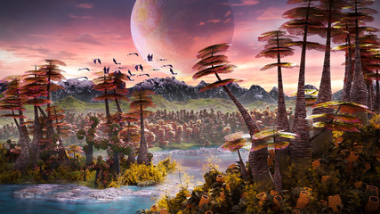 Zelfklevend Fotobehang Chocoladebruin alien planet landscape, beautiful forest the surface of an exoplanet
