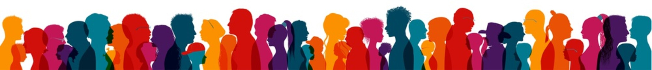 Population and society with diverse people.Communication crowd of families and multiethnic people and of diverse culture.Sociology.Crowding and density of people.Silhouette profile