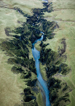 Aerial view of Fjadrargljufur canyon in Iceland
