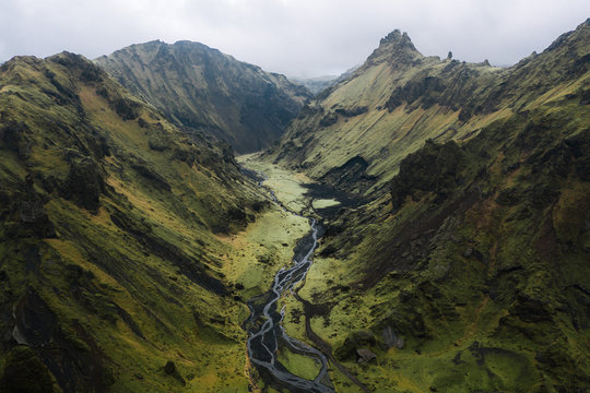 Aerial view of Stream in the icelandic mountains