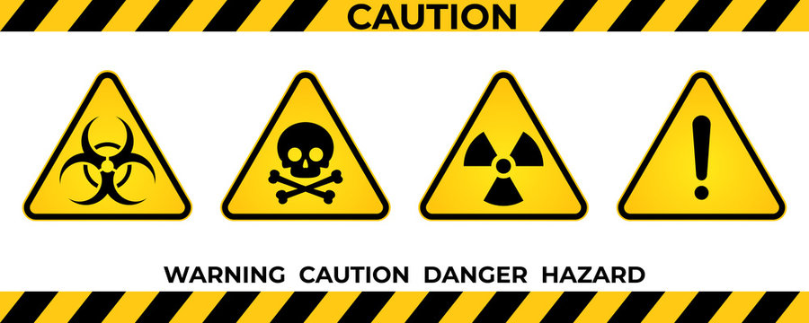 Set of hazard warning signs. Black yellow triangle warning safety and caution signs. Information security hazard vector symbol, icon. Vector illustration