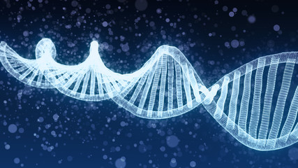 DNA double helix - blue 3D generated illustration with cloud of particles, low depth of field