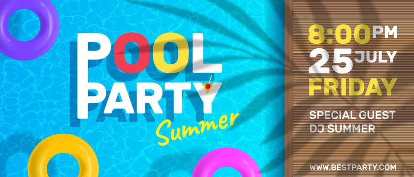 summer pool party horizontal banner brochure design