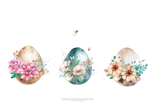 Watercolor Happy Easter eggs with flower and spring floral, isolated on a white background