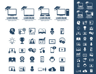 E-Learning, education. Collection of e-learning related icons