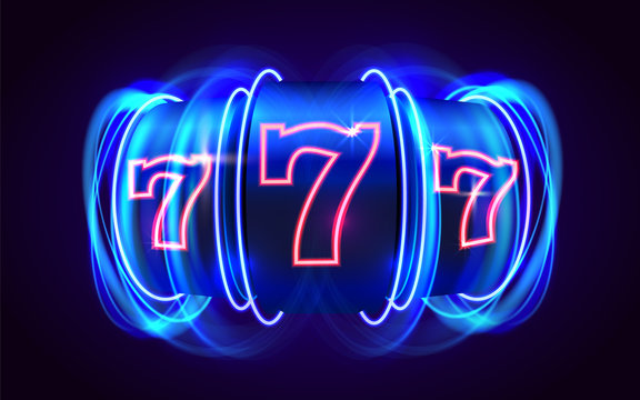 Neon slot machine wins the jackpot. 777 Big win casino concept.