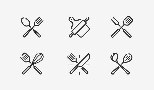 Cooking icon set. Culinary, restaurant, menu, symbol. Vector