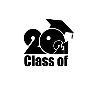 Class of 2021 with Graduation Cap. Flat design on white background