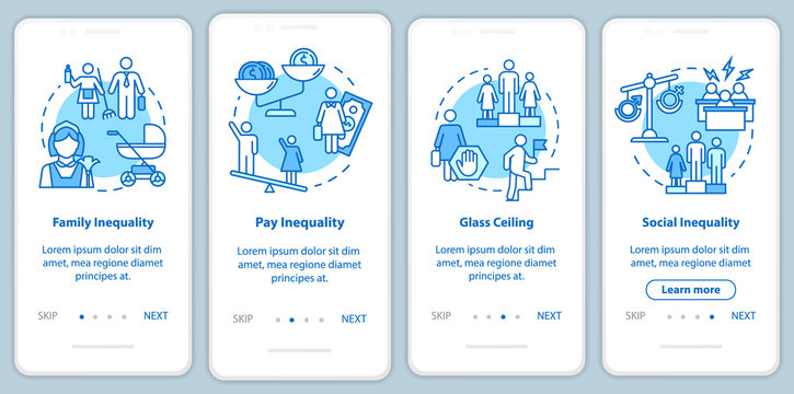 Sexual inequality onboarding mobile app page screen with concepts. Gender role stereotypes and pay gap walkthrough 4 steps graphic instructions. UI vector template with RGB color illustrations