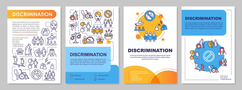 Gender discrimination brochure template. Sexism and prejudice. Flyer, booklet, leaflet print, cover design with linear icons. Vector layouts for magazines, annual reports, advertising posters