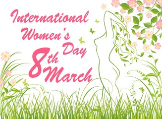 Greeting card for International Women's Day March 8th with woman profile silhouette, fresh spring grass and flowered apple-tree