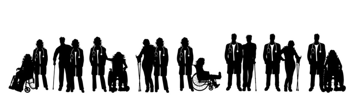 Vector silhouette of collection of disabled people with doctor. Symbol of man and woman with crutches and on wheelchair.