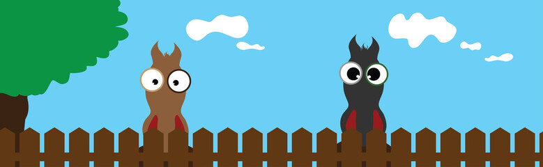 Vector illustration of horse´s face behind the fence. Symbol of curious and farm.