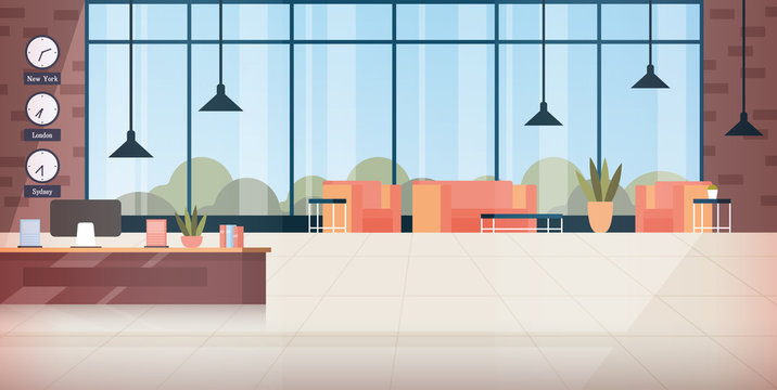 Modern hotel lobby interior. Building hallway with reception desk, couch seats, panoramic window with resort landscape. Vector illustration for lounge, travel, vacation concept