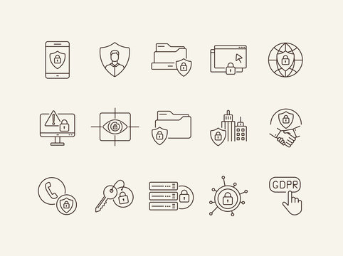 Cyber security line icon set. Database, national security, privacy, lock isolated outline sign pack. Data protection concept. Vector illustration symbol elements for web design and apps