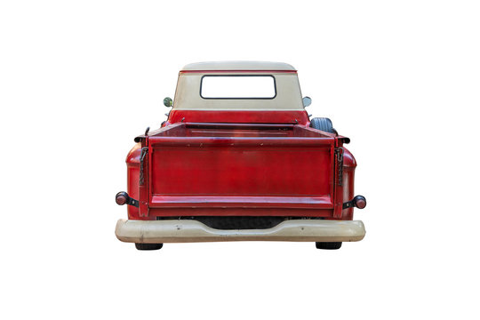 The back of a vintage red pickup truck,isolated on white background with clipping path