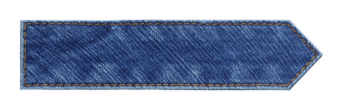 Blue jeans arrow tag, isolated