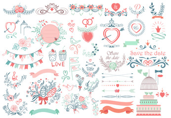 Rustic hand sketched wedding modern vintage graphic collection of cute ribbons, wreaths arrows, birds, hearts, laurel, and labels Fotomurales