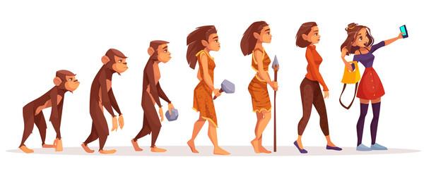 Womens fashion evolution cartoon vector concept
