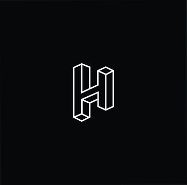 Outstanding professional elegant trendy awesome artistic black and white color 3d H HH initial based Alphabet icon logo.