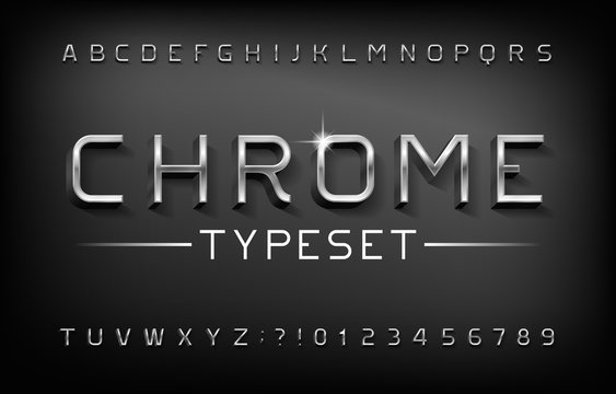 Chrome alphabet font. 3D metal letters and numbers with shadow. Stock vector typeset for your typography design.