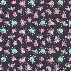 Bugs and beetles seamless pattern. Vector seamless wallpaper/background. Cute bugs cutouts