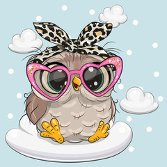 Canvas Prints Owls cartoon Cartoon Owl in pink glasses on the cloud