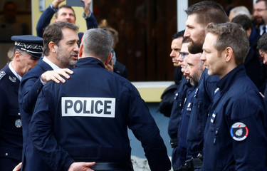 French Interior Minister Castaner speaks to police officers during his visit to Mulhouse