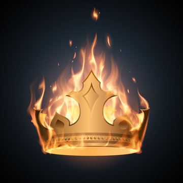 Gold crown in flame illustration