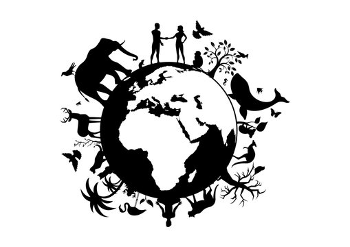 Planet Earth with animals and humans black silhouette vector. Planet Earth black silhouette. Wild animals silhouette. Planet Earth with fauna and flora vector. Animals and people on planet earth