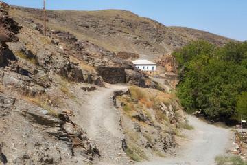 Old houses in a mountain village in Uzbekistan