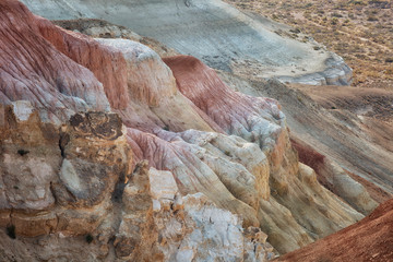 Beautiful color cliffs in the canyon of the Ustyurt plateau, Uzbekistan