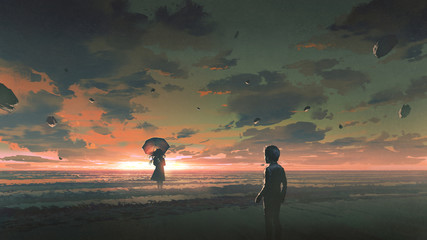 Deurstickers Grandfailure a boy looking at the mysterious woman with umbrella standing in the sea against sunset sky, digital art style, illustration painting