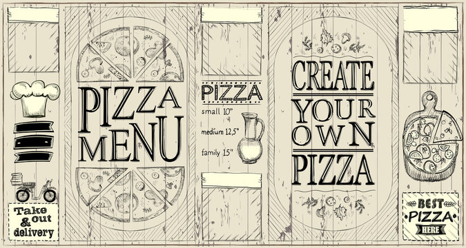 Pizza menu board - create your own pizza, pizza of the day, pizza delivery
