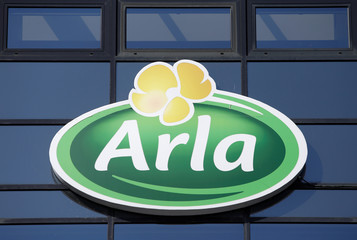 Sign is seen outside the offices of Arla Foods in Copenhagen