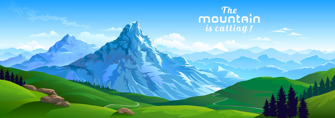 Crusty ice surface of the mountains with beautiful meadows and ranges of hills Fototapete