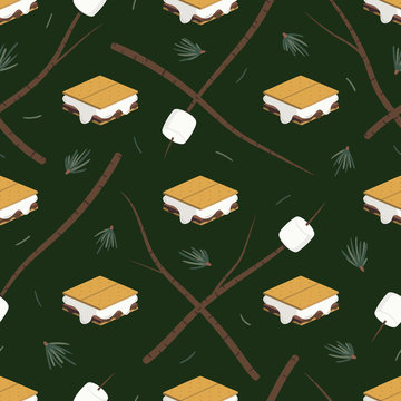 Seamless vector pattern with s'mores, marshmallows on sticks, and evergreen needles on a forest green background. Fun food illustration for gift wrap, fabric, packaging, paper goods, accessories.