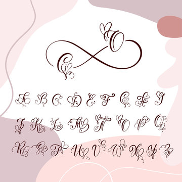 Handwritten heart calligraphy monogram alphabet. Valentine Cursive font with flourishes heart font. Cute Isolated letters. For postcard or poster decorative graphic design