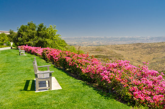 bench with fantastic view to the Long Canyon at Simi Valley, California, US