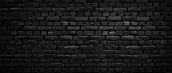 Foto op Textielframe Baksteen muur Texture of a perfect black brick wall as background or wallpaper