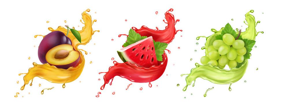 Set of fruit juice splash. White grapes, watermelon, plum Vector