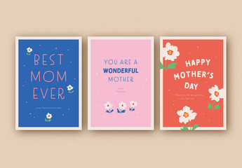 Mother's Day Card Layouts with Floral Accents