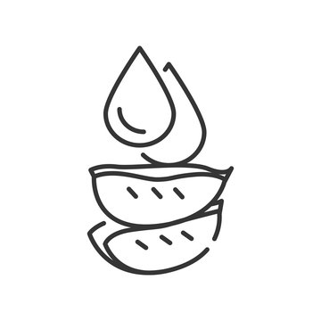 Drop of aloe black line icon. A fresh drop of aloe juice. Added to cosmetics for skincare. Pictogram for web page, mobile app, promo. UI UX GUI design element. Editable stroke.