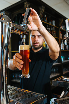 Serious barman in black shirt pouring beer in glass from beer tap working in bar