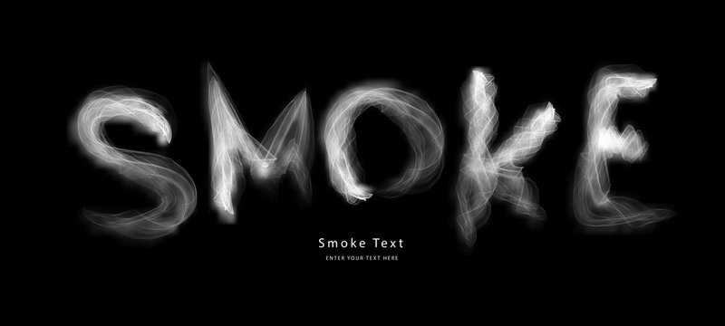 Abstract smoke letter text art smoky pen brush effect.