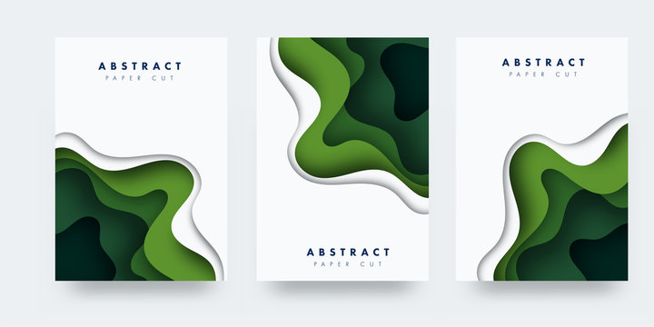 Vertical banners set with 3D abstract background and paper cut shapes. Vector design layout for business presentations, flyers, posters and invitations. green carving art